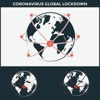 coronavirus global lockdown logo set