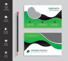 het groene en zwarte horizontale visitekaartje van golfvormen