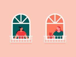 vrouwelijke buren kijken uit de ramen vector