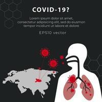 covid-19 achtergrond met kaart en menselijke omtrek vector