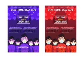 strijd tegen corona virus bewustzijn campagne poster sjabloon