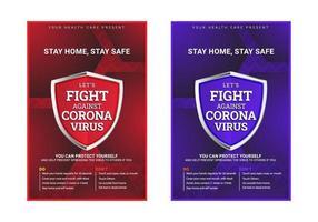 moderne medische voorlichtingsaffiche voor laten we vechten tegen coronaslogan