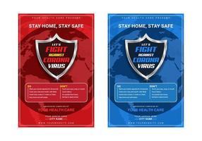 corona viruspreventie en laten we vechten tegen corona virus bewustzijn poster sjabloon