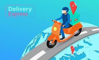 wereldwijde levering per scooter met gps vector