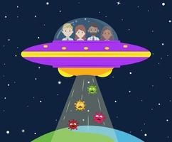 medisch team in ufo ontvoert virus vector