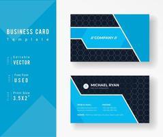 sjabloon voor blauw visitekaartjes met zeshoek patroon