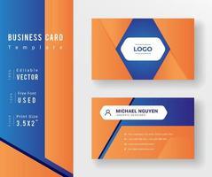 orane en blauwe sjabloon voor visitekaartjes