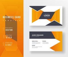 oranje en grijze driehoek vorm visitekaartje sjabloon