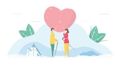 paar verliefd praten in de sneeuw