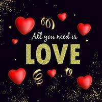 alles wat je nodig hebt is een liefdesvlieger met gouden confetti en hartjes