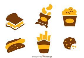 Snack voedsel iconen