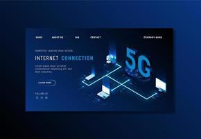 verloop blauw 5g website sjabloon vector