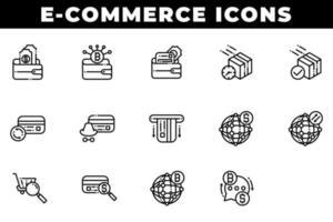 pictogrammen voor e-commerce winkelen, waaronder portemonnee en bitcoin vector