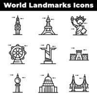 pictogrammen van wereldoriëntatiepunten, waaronder de Eiffeltoren
