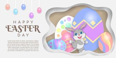 Happy Easter achtergrond met konijn en eieren