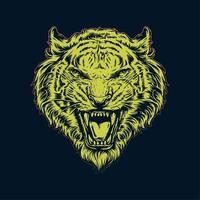 hand getrokken gele tijgerkop vector