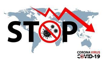 stop tekst met pijl-omlaag over wereldkaart