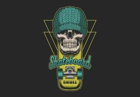 schedel geel skateboard vector