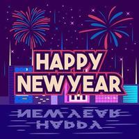 Gelukkig Nieuwjaar plat ontwerp poster