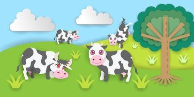 papier gesneden koeienboerderij vector