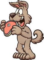 cartoon hond biefstuk eten