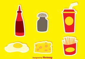 Junk food met peper en hete saus iconen