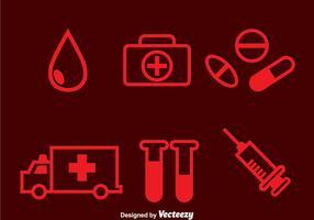 Ziekenhuis Rode Pictogrammen vector
