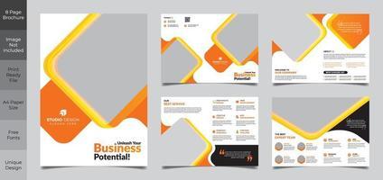 oranjegele en witte 8 pagina bedrijfsbrochure sjabloon vector