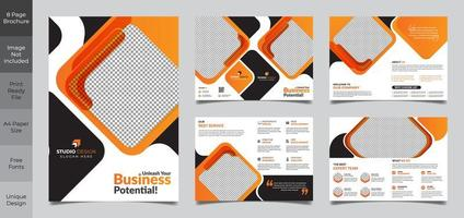 8 pagina oranje en zwarte zakelijke vierkante brochure sjabloon vector
