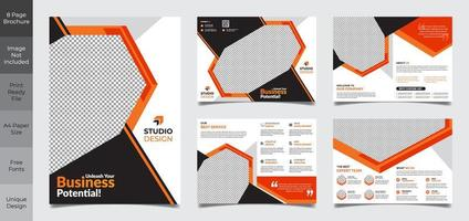 8 pagina zwart en oranje zakelijke brochure sjabloon vector