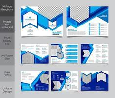 blauw en wit zakelijke brochure sjabloon