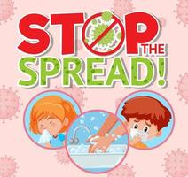 stop de verspreide coronavirusposter vector