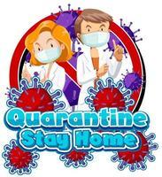 quarantaine en artsen badgeontwerp vector