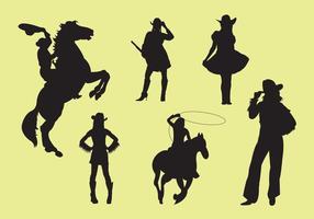 Vectorillustratie van Cowgirl Silhouettes