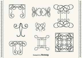 Hand getekende krullende krul vector set