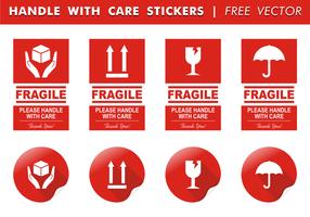 Hanteer Met Zorg Stickers Gratis Vector