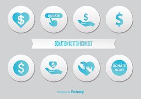 Donate button icon set vector