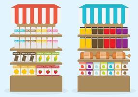 Supermarkt planken vectoren