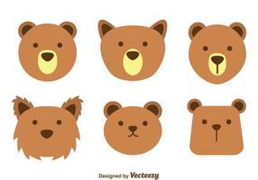 Bruine beer gezicht vectoren