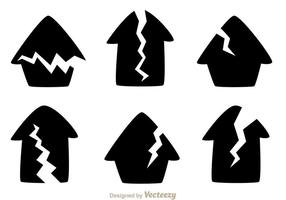 Gebarsten huis zwarte iconen vector