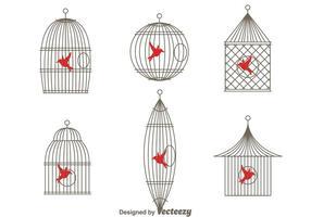 Vector Eenvoudige Vintage Vogelkooi