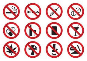 Geen drugs iconen vector