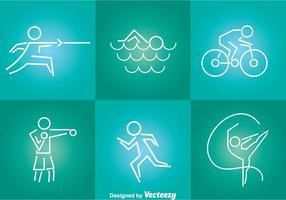 Sport tin lijn iconen