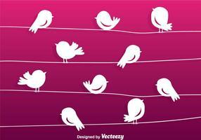 Cartoon vogel silhouet op een draad vector