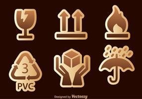 Fragiele sticker sets vector