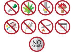 Zeg nee tegen drugs iconen vector