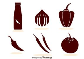 Hot Sauce Pictogrammen vector