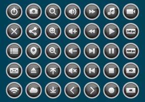 Metalen Media Player Buttons