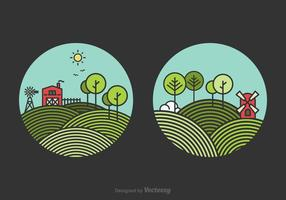 Gratis Line Rolling Hills Landscape Vector