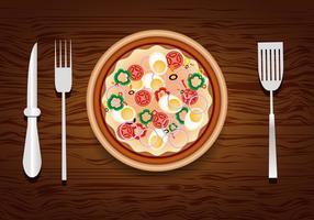 Pizza ontwerp met toppings